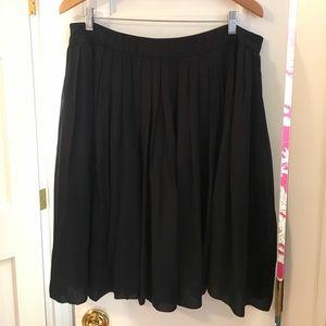 Talbots Black Silk Chiffon Pleated Skirt
